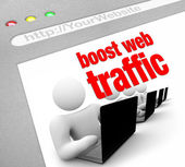 Boost Web Traffic - Internet Screen Shot — Stock Photo