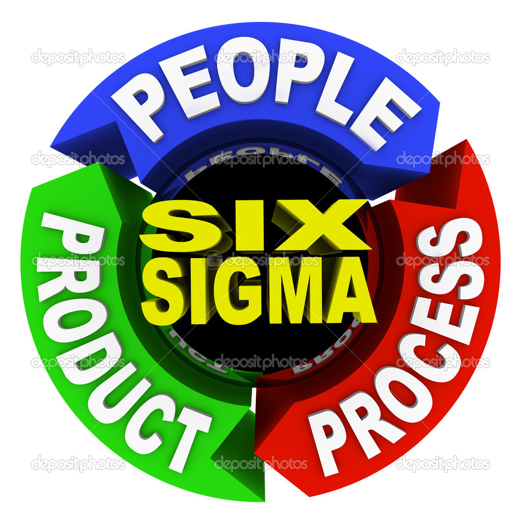 The three core principles of Six Sigma training and certification -- , product and process -- written on arrows in a circular diagram — Stock Photo #5323653