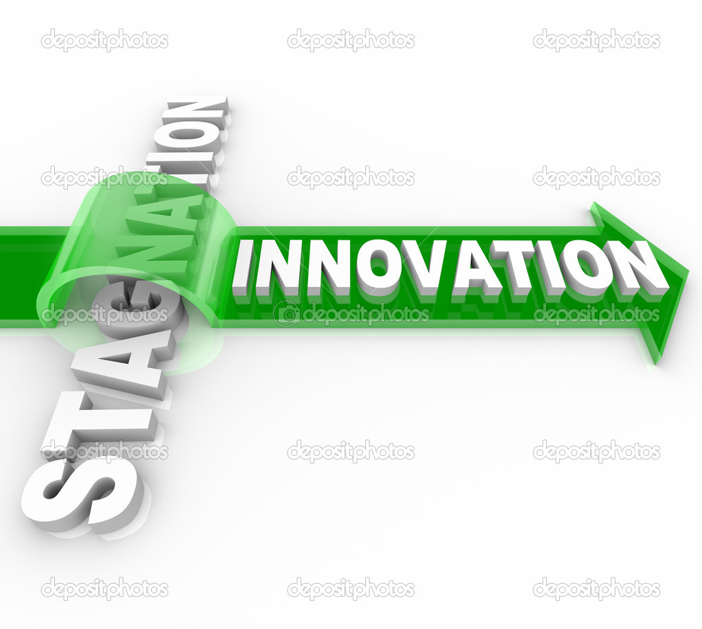 The word Innovation on an arrow jumping over the word Stagnation, symbolizing the forward motion of creative change over the status quo — Stock Photo #5323797