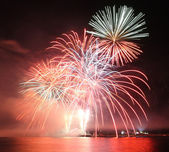Horizontal firework — Stock Photo