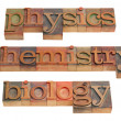 Physics, chemistry and biology — Foto de Stock