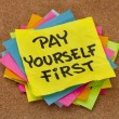 Stock Photo: Pay yourself first - reminder