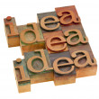 Idea concept in printing blocks — Stock Photo
