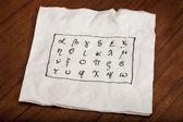 Alfabeto griego en una servilleta — Foto de Stock