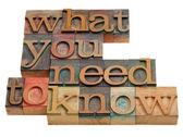 Quello che dovete sapere — Foto Stock