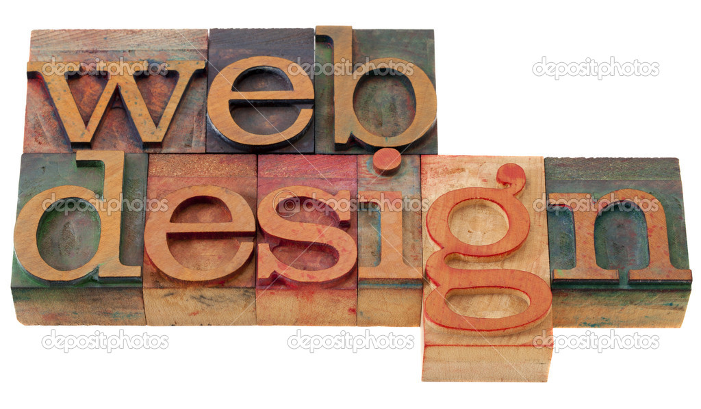 Web design - words in vintage wooden letterpress printing blocks, isolated on white — Stok fotoğraf #4511725