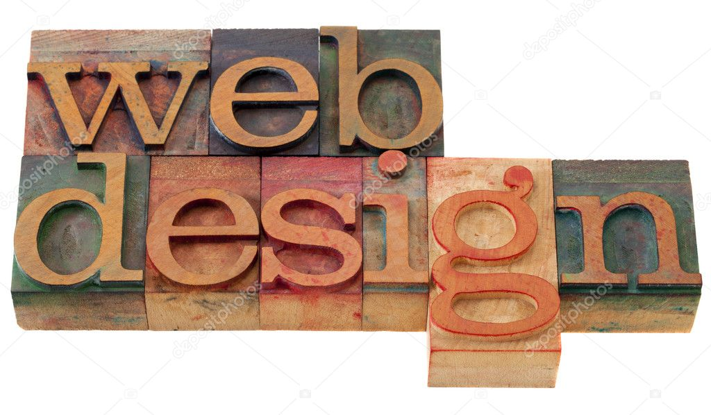 Web design - words in vintage wooden letterpress printing blocks, isolated on white — Photo #4511725