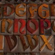 Antique letterpress alphabet — Stockfoto