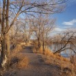 Nature trail across lake area - Foto de Stock