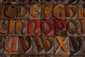 Antique letterpress alphabet — Stock Photo