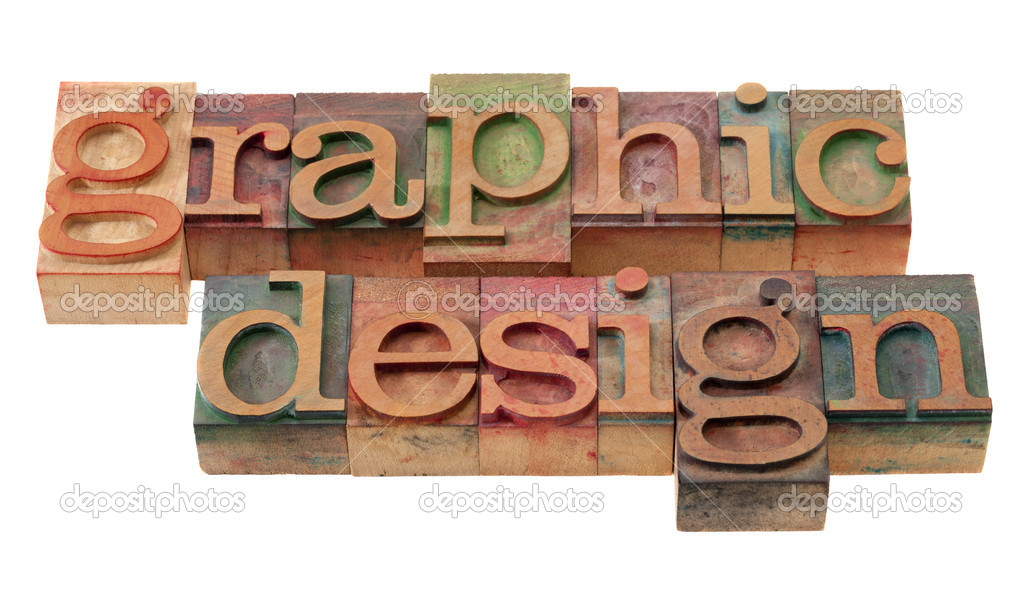 Graphic design word abstract in vintage wooden letterpress printing blocks, stained by color inks, isolated on white  Foto de Stock   #4551017