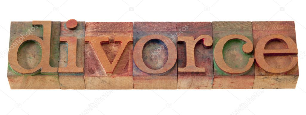 Divorce word in vintage wooden letterpress printing blocks, stained by color inks, isolated on white — Stock Photo #4551037