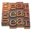 Gear - word in letterpress type - Foto de Stock