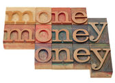 Money - word in letterpress type — Stock Photo