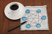 Network concept on napkin — Stock Photo