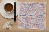 Thinking word collage on napkin — Stock Photo