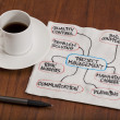 Project management concept - napkin doodle — Stock Photo #4653743