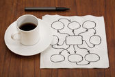 Abstract blank flowchart on napkin — Stock Photo