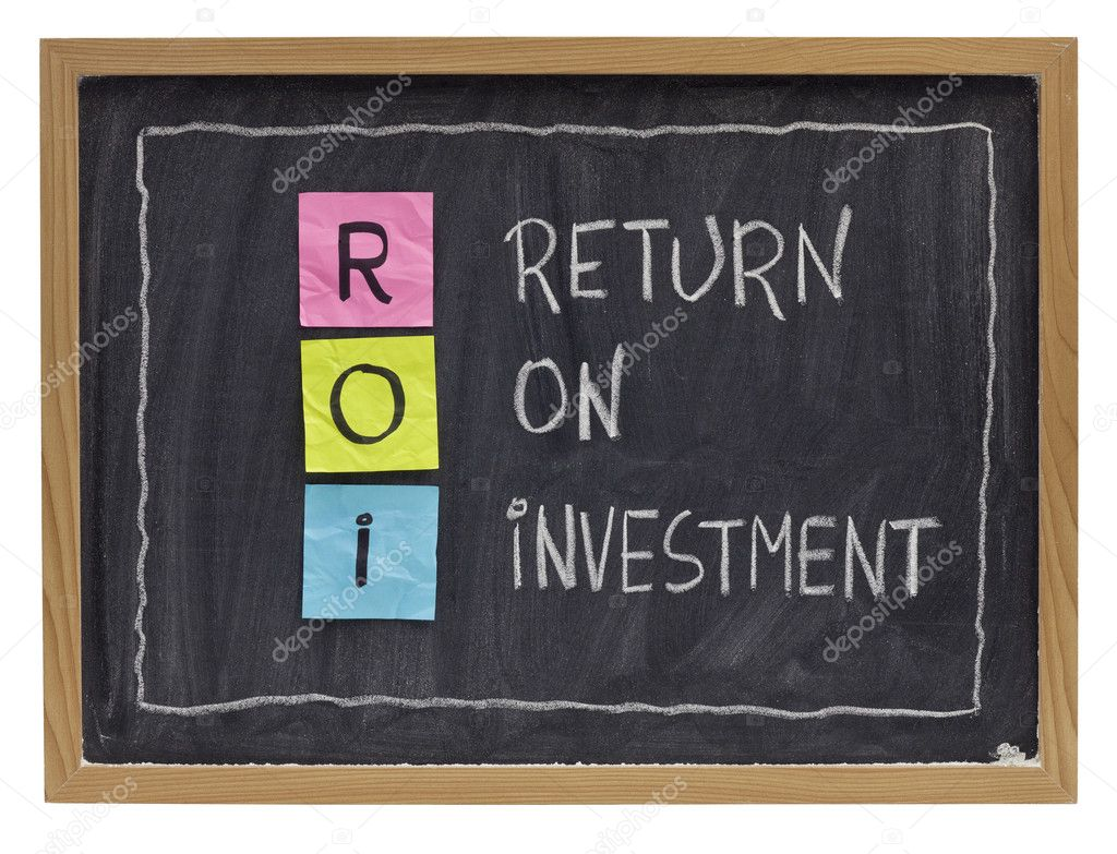 ROI - return on investment acronym explained with color sticky notes and white chalk handwriting on blackboard  Stock Photo #4682603