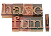 Have fun phrase in letterpress type — Stock Photo