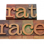 Постер, плакат: Rat race phrase in letterpress type