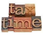 Tempo fiscale nel tipo di stampa tipografica — Foto Stock