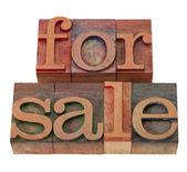 For sale in letterpress type — Stock Photo