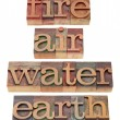 Fire, air, water and earth — Stock Photo