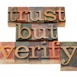 Trust but verify phrase — 图库照片