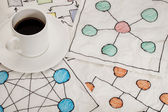 Network schematics - napkin doodle — Stock Photo