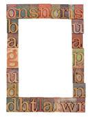 Alphabet frame in letterpress type — Stock Photo