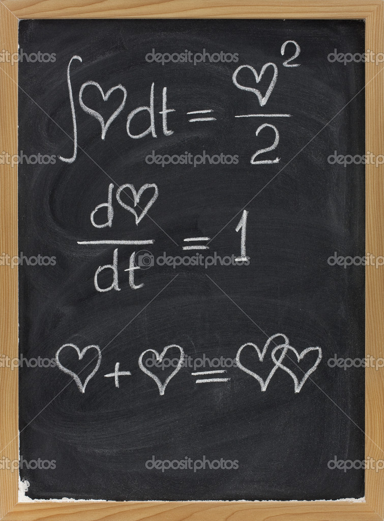 Calculus formulas with a heart as argument sketched with white chalk on blackboard with eraser smudges — Stock Photo #4950946