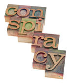 Conspiracy word in letterpress type — Stock Photo