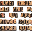 Months in letterpress type - Stockfoto