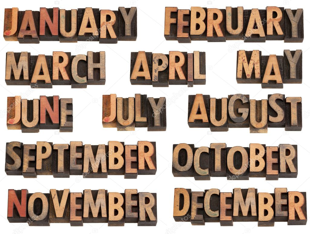 12 months of the year from January to December in vintage wood letterpress printing blocks, isolated on white — Stock fotografie #5108332