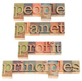 Planet, profit, principles — Stock Photo
