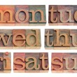 Days of week in letterpress type — Stock Photo