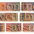 Days of week in letterpress type — Stock Photo #5169086
