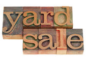 Yard sale in lettepress type — Stock Photo