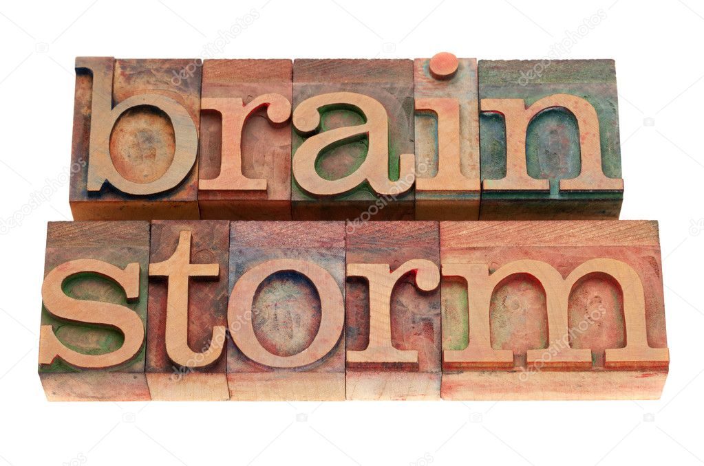 Brainstorm word in vintage wood letterpress printing blocks, stained by color inks, isolated on white — Stock Photo #5212412