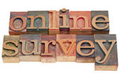 Online survey - letterpress type — Stock Photo