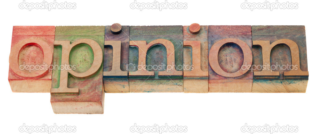Opinion  word  in vintage wood letterpress printing blocks, isolated on white — Stock Photo #5250627