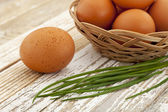 Eggs and green chive — Stock Photo