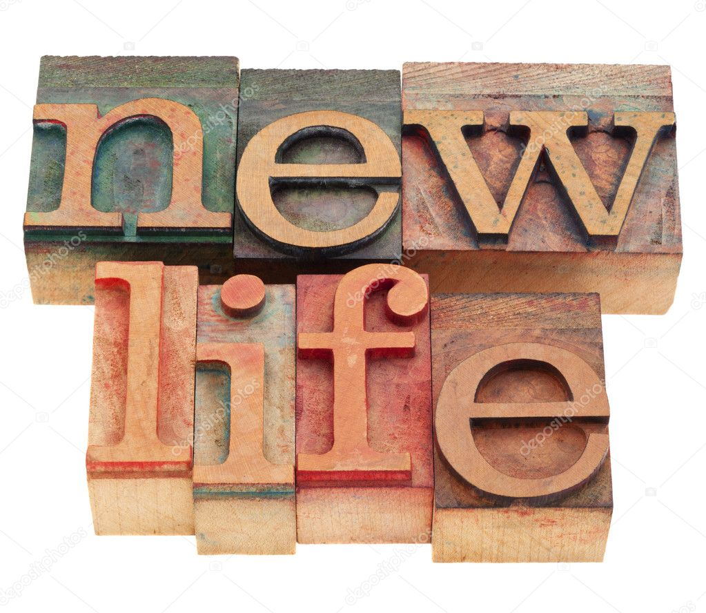 Future concept - new life words  in vintage wood letterpress printing blocks, isolated on white — Stock Photo #5308326