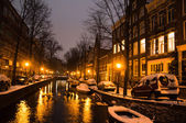 Snowy Amsterdam At Night — Stock Photo