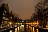 Snowy Amsterdam At Night — Stock Photo