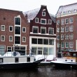 Stock Photo: Amsterdam Canal with House Boats
