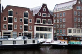 Amsterdam Canal with House Boats — Stock Photo