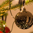 Christmas Balls Hanging From Christmas Tree — 图库照片