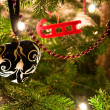 Christmas Balls Hanging From Christmas Tree — Stock Photo